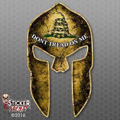 Printed Spartan Helmet American Flag Don/'t Tread on Me Decal Patriotic Sticker
