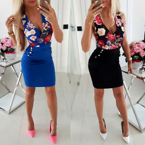 Womens-V-Neck-Sleeveless-Bodycon-Vest-Dress-Evening-Cocktail-Clubwear-Dresses