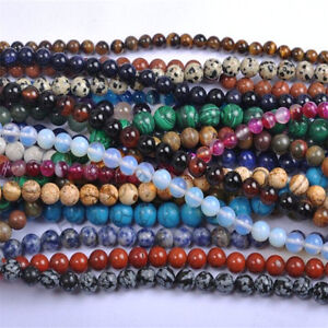 40PCS-Natural-Gemstone-Round-Spacer-Loose-Beads-4MM-6MM-8MM-10MM-Assorted-Stones