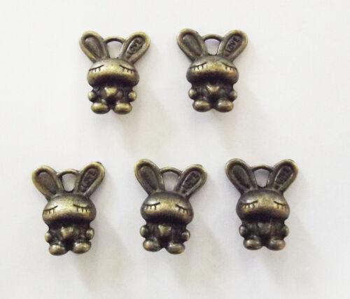 16mm 10 Rabbit Charms Bunny Charm Pendants Antique Bronze