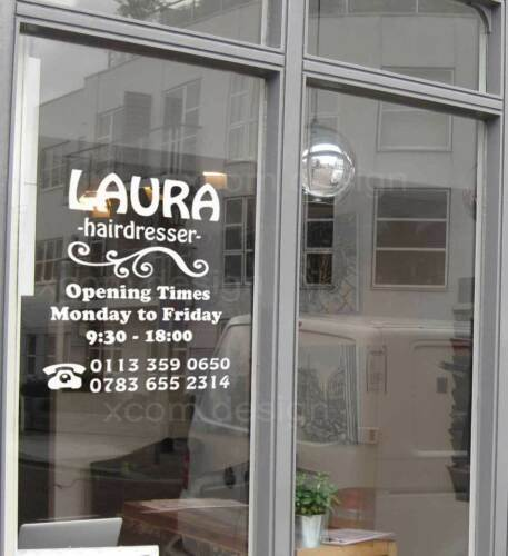 Opening Times//Logo your Company,Shop Window Car Vinyl Sticker Door