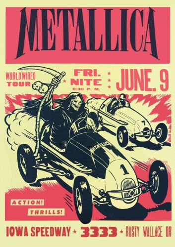 Metallica Concert Iowa Speedway Poster Art Print
