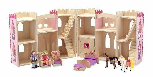 Princess Castle Wooden Fold and Go Gift Play Set for Kids Melissa & Doug 13708