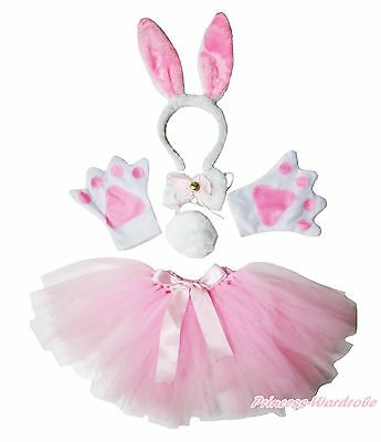Easter Halloween Party Kids Pink Bunny Headband Paw Tail Bow Gauze Skirt Costume