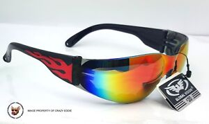 RIDER PADDED MOTORCYCLE GLASSES G-TECH BLUE MIRROR LENS BY GLOBAL VISION