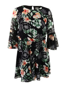 Vince-Camuto-Women-039-s-Floral-Print-Bell-Sleeve-Dress