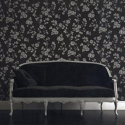 TEXTURED BLACK SILVER SPARKLE ROSE FLOWER FEATURE WALLPAPER DECORLINE DL40592
