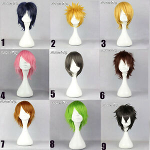 30CM-Short-Straight-Layered-Hair-Anime-Men-Women-Basic-Cosplay-Wig-Cap-9-Colours