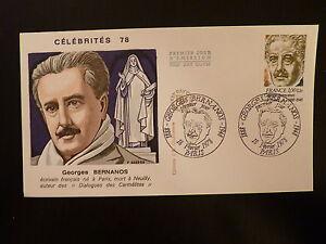 Stamps France Premier Jour Fdc Yvert 1987 Georges Bernanos 1+0,20f Paris 1978