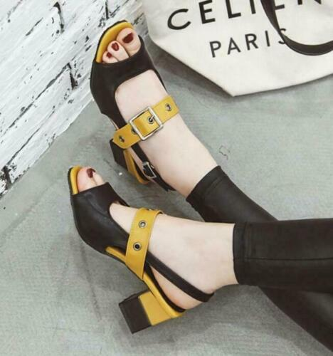 Womens Mixed Color Sandals Buckles Open Toe Chunky Med Heels Shoes Punk Hollow