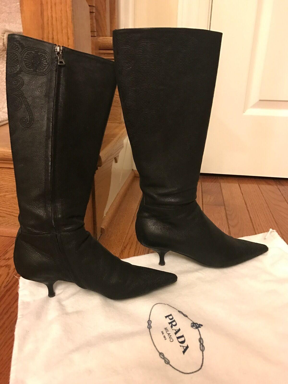 Prada Stitched Pattern Black Leather Knee-high Kitten Heel Boots, Sz 35.5/5.5