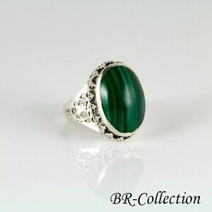 b8a2cd2bae18d Details about Sterling Silver Ring with Dark Green Malachite Stone