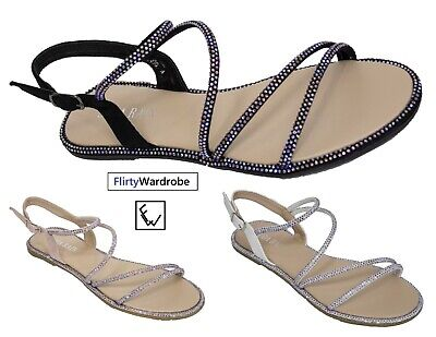 Strappy Flat Sandals Open Toe Diamante Edge Summer Holiday Shoes Womens Ladies | eBay