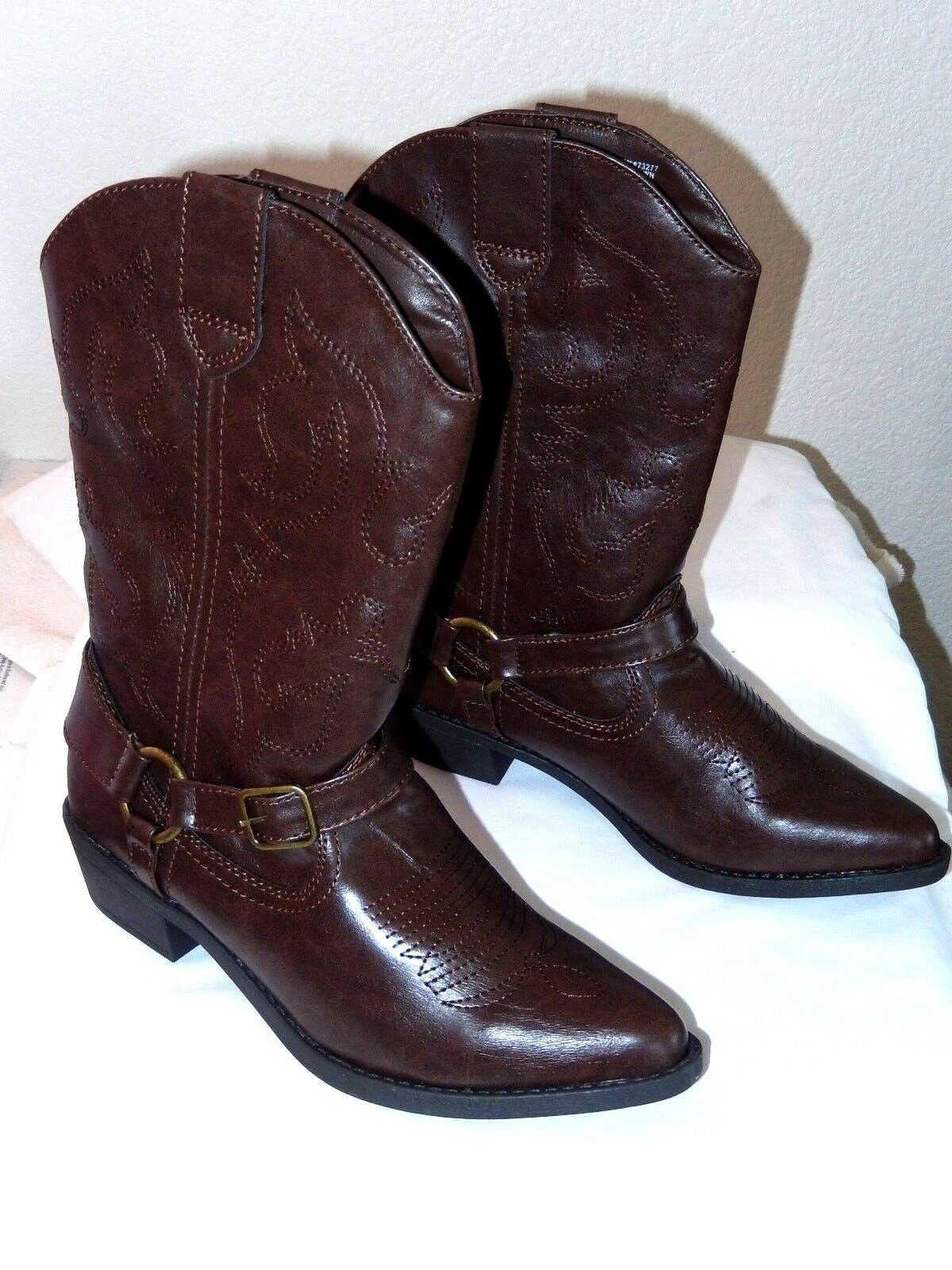 SO Cowboy Boots--size 8, brown-Beautiful detailing , Pull straps  NWT