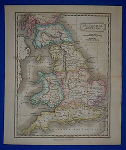 Antique 1838 Hand Colored Map Of Ancient England Britannia