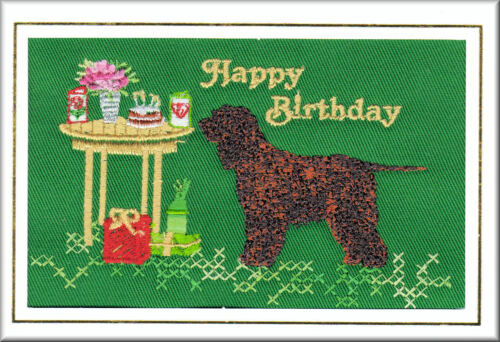FREE PERSONALISATION Irish Water Spaniel Birthday Card Embroidered by Dogmania