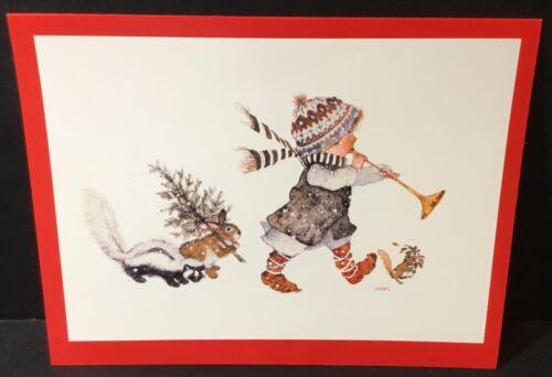 VTG American Greetings HOLLY HOBBIE Christmas Card 1972 Child w//Horn Animals