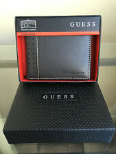 bagsclothesetc: NIB GUESS Bi-Fold Genuine Leather Men's Wallet- Brown FREE SHIP