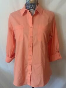 NWT-Chicos-Womens-Top-Size-5-S-6-Coral-Button-Front-Roll-Tab-Sleeve-No-Iron
