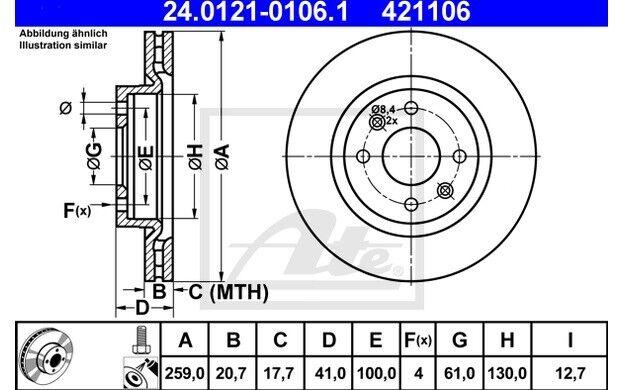 ATE Juego de 2 discos freno Antes 259mm ventilado para RENAULT MEGANE