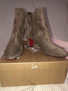 new product bda41 65df0 Details about EUC Christian Louboutin Tiagada 70 Tan Chatain Chestnut Suede  Bootie Size 41