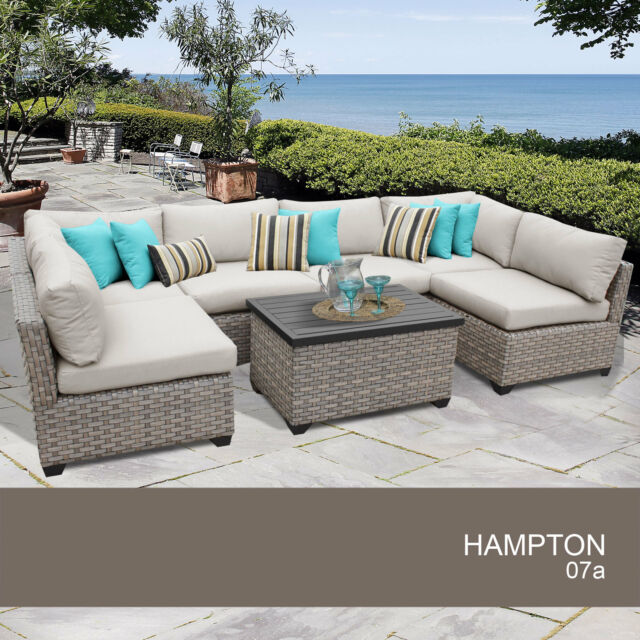 Hampton 7 Piece Outdoor Wicker Patio Furniture Set 07a