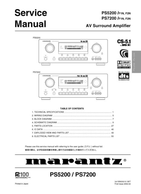 Service Manual For Marantz Ps