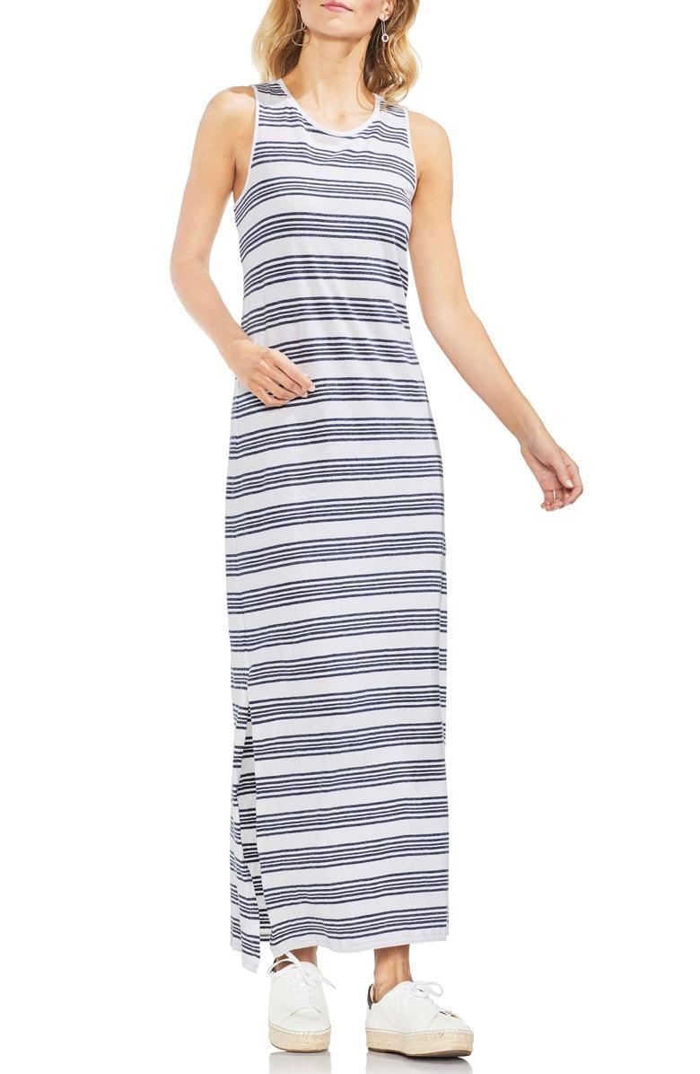 160 NEW VINCE CAMUTO Women WHITE blueE STRIPE MAXI SLEEVELESS TANK DRESS SIZE L