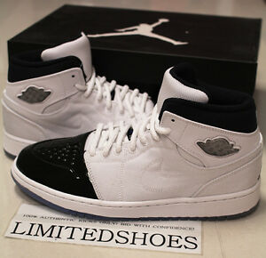 NIKE AIR JORDAN I 1 RETRO  95 TXT WHITE BLACK DARK CONCORD 616369 ... 3be118d72