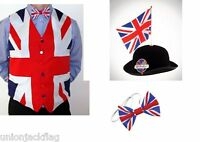 Union Jack Flag Waistcoat ,Bow tie and Great British Bowler with Flag