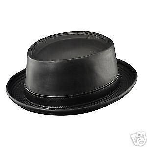 b8cd4bce Mens Henschel Leather Pork Pie Hat - Medium - Black - Jazz - USA ...
