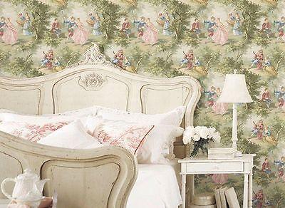 Old World Vintage Victorian Lovers Toile Grey Designer Cottage Chateau Wallpaper