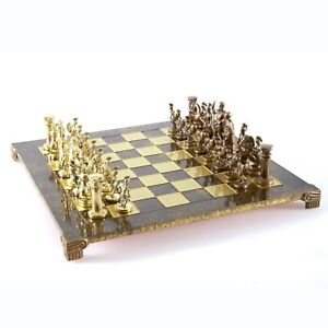 Brass/&Green Brown chess Board Manopoulos Greek Roman Army Large Chess Set