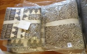 Pottery Barn Nori Quilt Set Charcoal Gray Ivory King 2