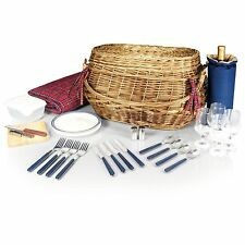 Picnic Time HIGHLANDER English Style Willow Picnic Basket w/ Lunch Service for 4