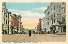 North Carolina, NC, Charlotte, Trade Street Looking East fr Tryon ST 1920's PC