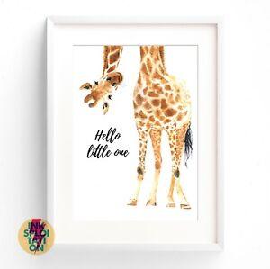 Hello Little One Giraffe Print Nursery Print Baby Room