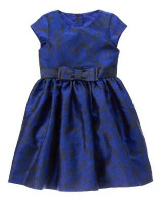GYMBOREE BEST IN BLUE COBALT BLUE FLORAL BOW DRESSY DRESS 4 5 7 NWT