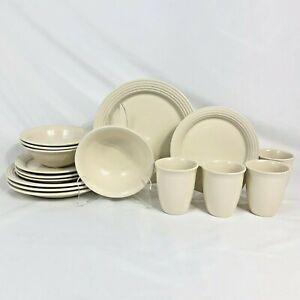 16-PIECE-SET-ONEIDA-WHITE-CULINARIA-A-LA-MODE-DINNER-SALAD-PLATES-BOWLS-MUGS