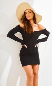 Ruffle-Detail-Bandeau-Long-Sleeve-Knitted-Dress-in-Black