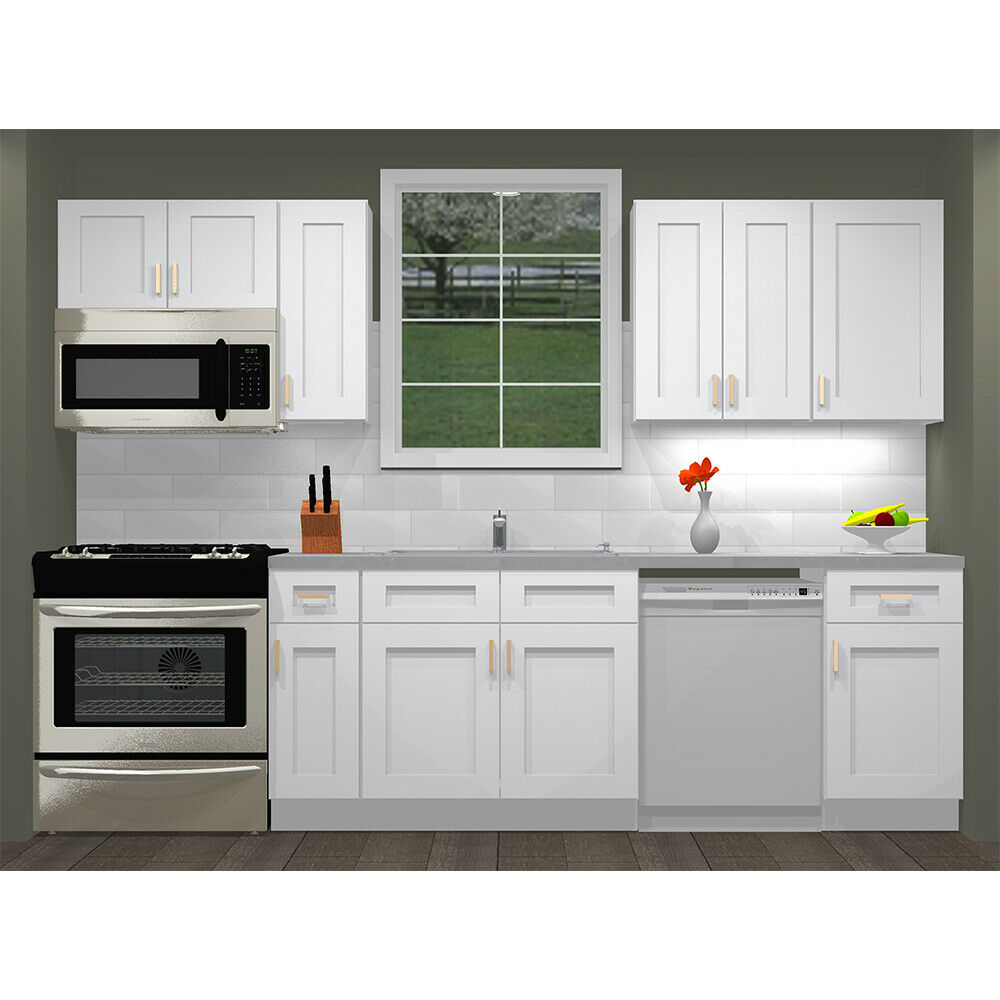 Details about Lily Ann Cabinets 10 Foot Run Wood Kitchen Furniture White  Shaker Elite