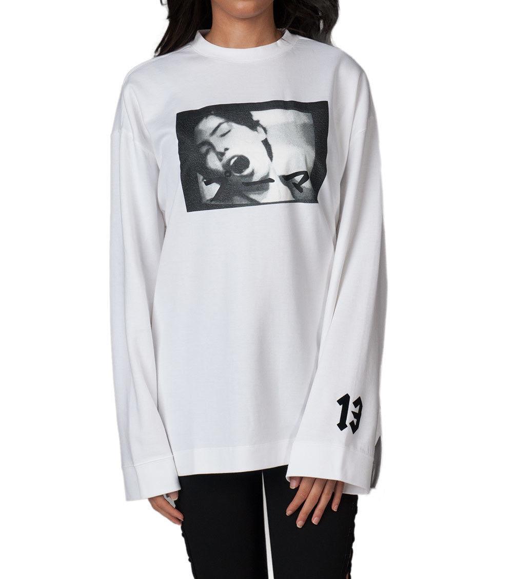 NEW PUMA Fenty x Rihanna Graphic Heavy Crew Neck LS Shirt damen Weiß 573189-02