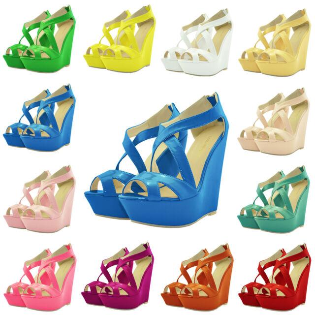Womens Patent Platform Open Peep Toe High Heels Wedge Shoes Sandals Size US 4-11