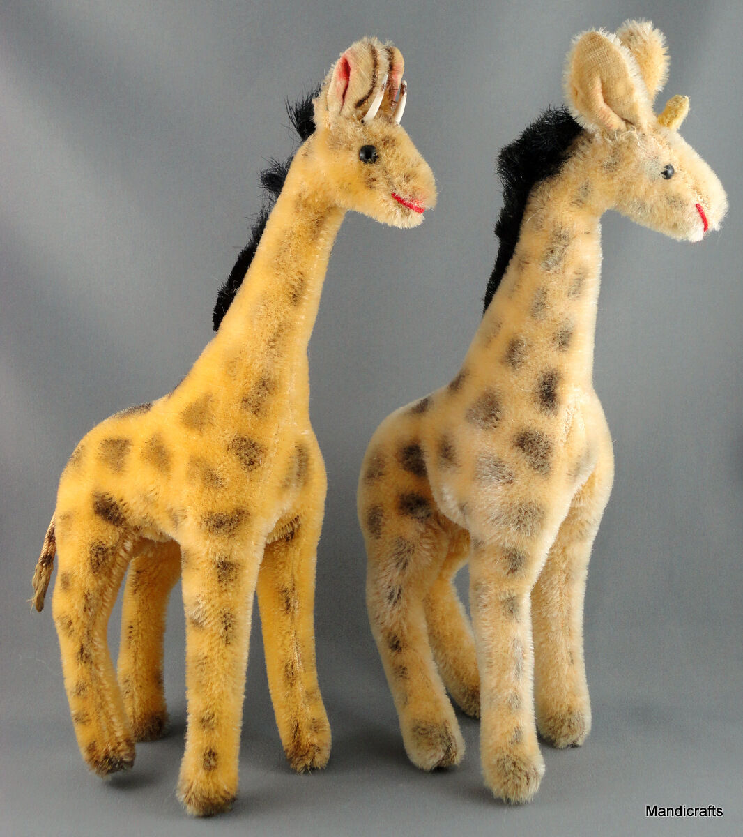 Hermann Teddy Original Giraffe x 2 Mohair Plush no ID 22cm c1960s one no tail