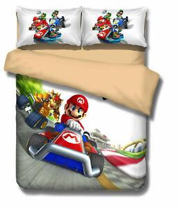 Edredon De Mario Bros.Details About Super Mario Bros Bowser Koopa Luigi Figure Duvet Cover Pillow Case Set Bedding