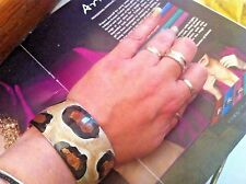 new RUNWAY SHELL abalone ANIMAL print BRACELET size small ladies UNIQUE