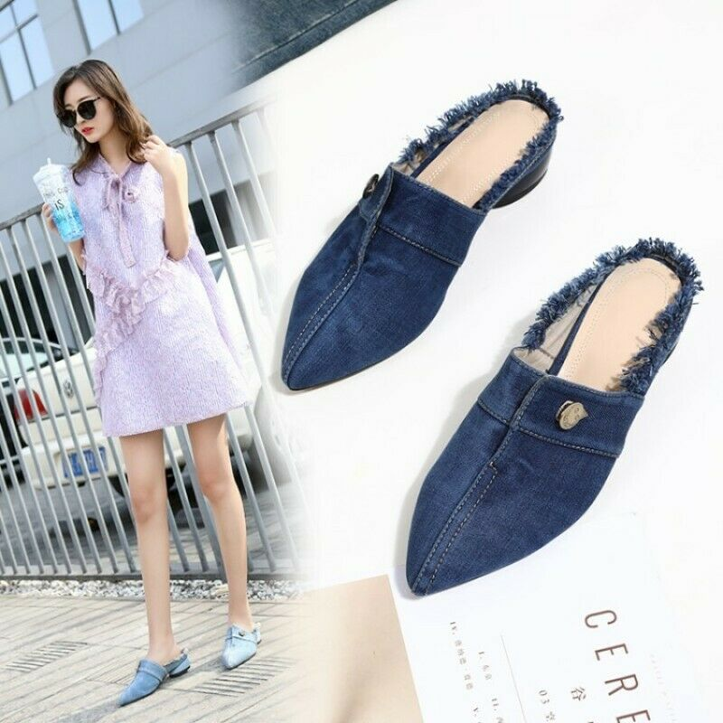 2019 Women's Pointed Toe Slingbacks Low Heel Denim Sandals Casual shoes Sandals
