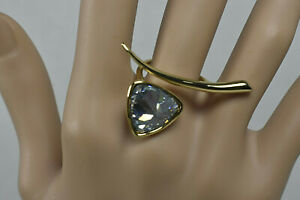 Alexis-Bittar-Signed-Blue-Topaz-Crystal-Gold-Tone-3-Fingers-Crossover-Ring-Rare