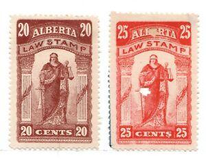 AL19 - AL20  Alberta, Canada, Law Stamps, Revenue, used