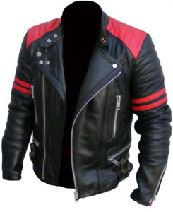 Men-039-s-Brando-Classic-Biker-Red-and-Black-Vintage-Motorcycle-Real-Leather-Jacket